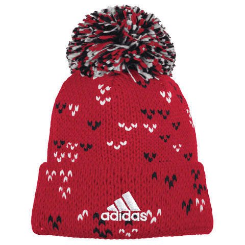 Women's Red Thick Gauge Jacquard Pattern Cuffed Knit Pom Hat by Adidas