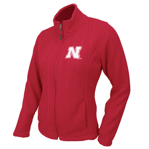 Women's Crossover Cable Knit Zip Jacket-Red