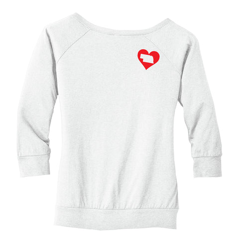 Womens I Love NE Banded Bottom Raglan-3/4 Sleeve-White