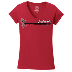 Women's V-Neck Curly Print Nebraska Tee-SS-Red