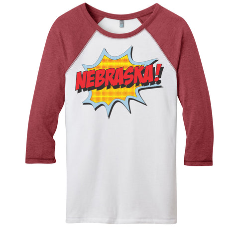 Juniors Nebraska Pop Art Raglan Tee-White/Red