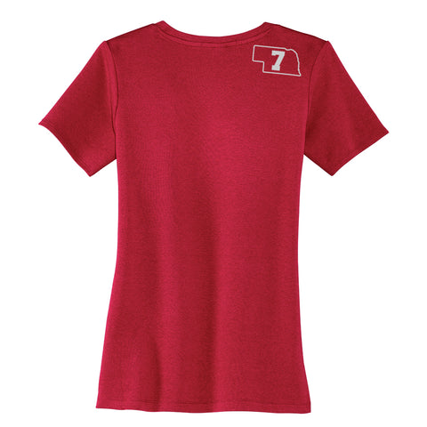 Women's V-Neck Nebraska Tee Our Coach is Hotter Than Yours Back