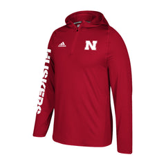 Kids/Youth 1/4 Zip Training Hood by Adidas-LS-Red