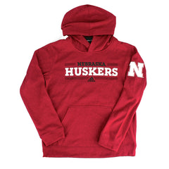 Youth Ultimate Nebraska Fleece Hood by Adidas-LS-Red