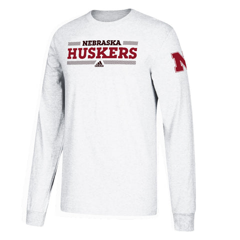 Kids Nebraska Huskers Linear Bars Tee by Adidas-LS-White