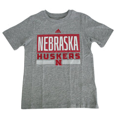 Youth Nebraska Huskers Linear Stack Tee by Adidas-SS-Grey