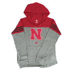 Youth Girls Nebraska Game Time Slouchy Hood by Adidas-LS-Grey