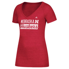Girls Nebraska V Neck Stack Bar Script Nebraska Huskers Tee by Adidas-SS-Red