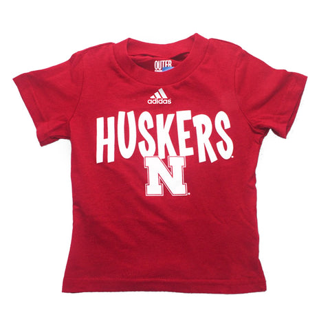 "Toddler/Kids Go To Tee with HUSKERS ""N""Screen Print by Adidas-SS-Red"