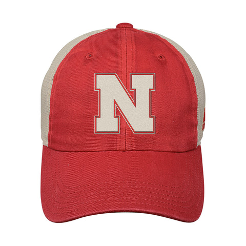 Youth Nebraska Overdyed Slouch Meshback Hat by Adidas-Red