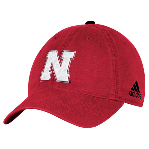 Nebraska Kids/Youth Basic Structured Adjustable Velcro Hat by Adidas-Red