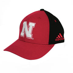 Nebraska Youth Colorblock Structured Adjustable Hat by Adidas-Red/Black