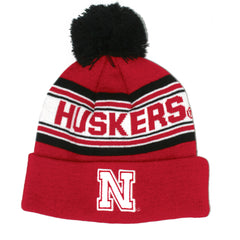 Youth Red Husker Cuffed Knit with Pom by Adidas - Red