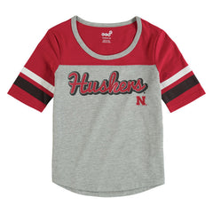 Youth Girls Huskers Fan-Tastic Scoop Neck Football Tee by Adidas-SS-Red