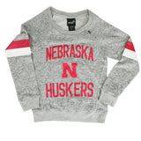 Youth Girls Nebraska Huskers Boat Neck Pullover by Adidas-LS-Grey