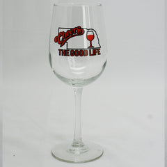 Vino Tall 16 oz. Wine Glass with Cheers The Good Life Design