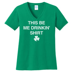 Womens Me Drinkin'  V-neck Tee - SS - Green