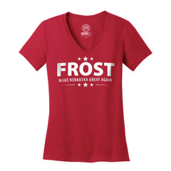 Frost Nebraska Football Women's V-Neck Red Shirt