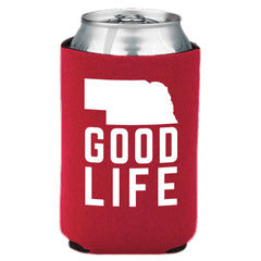 Nebraska State Good Life Can Koozie-Red