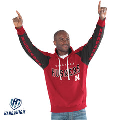 Men's Nebraska High Hands Centerfield Pullover Hoodie-LS-Red