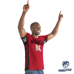 Men's Nebraska Hands High Side Bar Tee-SS-Red
