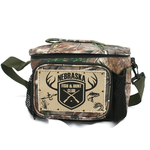 Real Tree Nebraska Fish and Hunt Club Camo Cooler
