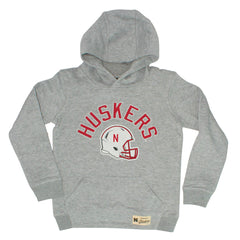 Youth Huskers Helmet Hooded Sweatshirt by Adidas-LS-Grey