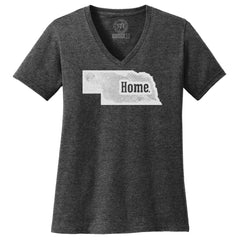 Women's V-Neck Home Tee-SS-Grey