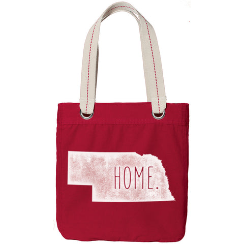 Nebraska  Home Canvas Tote Bag - Red