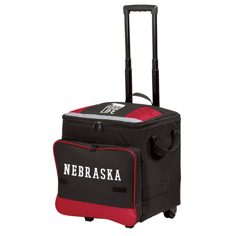 Nebraska Heavy Duty Rolling Cooler-Black/Red