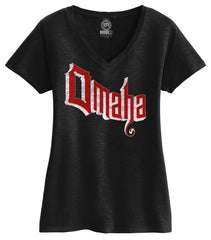 Women's Retro Omaha Slub V-Neck Tee By RZR - SS - Black
