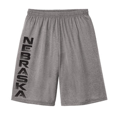 Men's Nebraska Performance Shorts by RZR - Heathered Grey