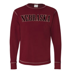 Men's Ultra Soft Vintage Thermal with Nebraska Screen Print-LS-Cardinal Red