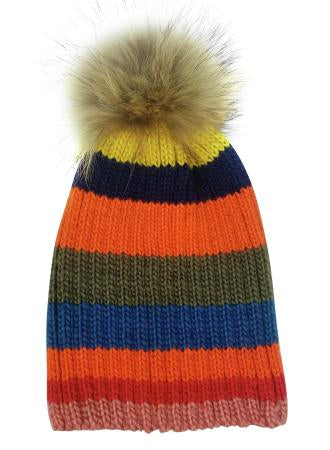 Multi Stripe Luxe Pom Pom Hat