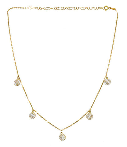 Five Pave Disc Necklace