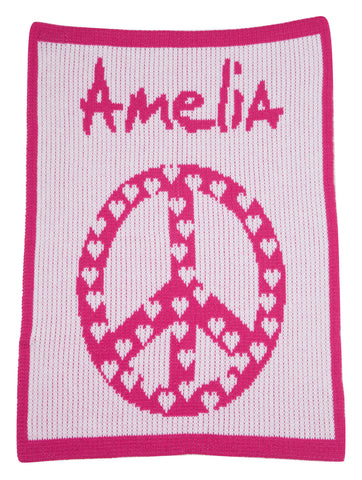 Peace and Heart Stroller Blanket