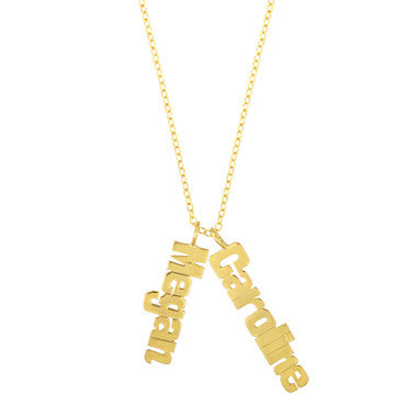 Metal Nameplate Vertical Multi Name Necklace