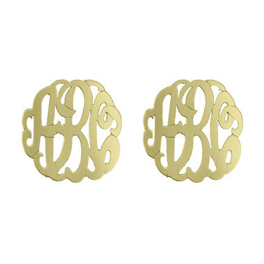 Metal Post Monogram Earrings
