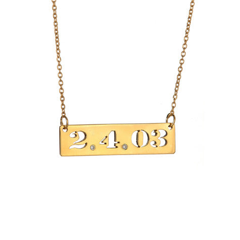 Date Cutout Bar with Two Diamonds Necklace