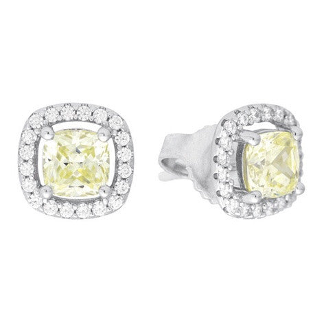 Yellow CZ Halo Stud