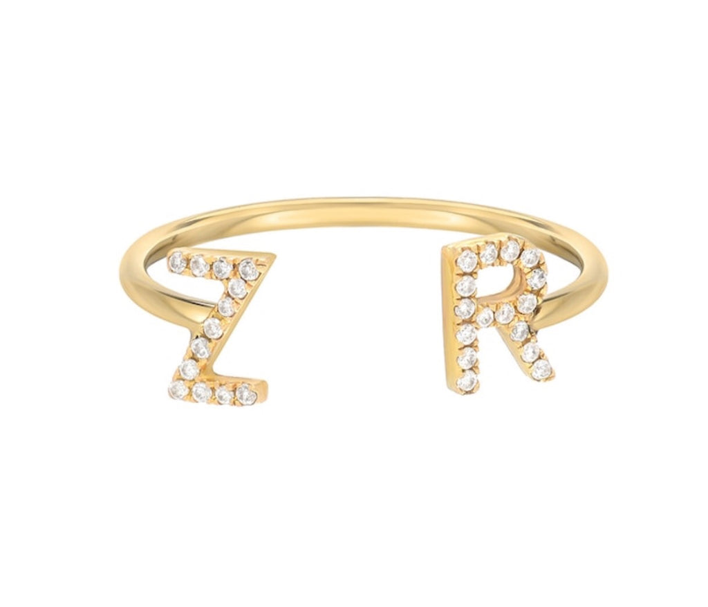IR Diamond Initial Ring 14k