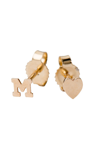 Mini Heart Initial Earring