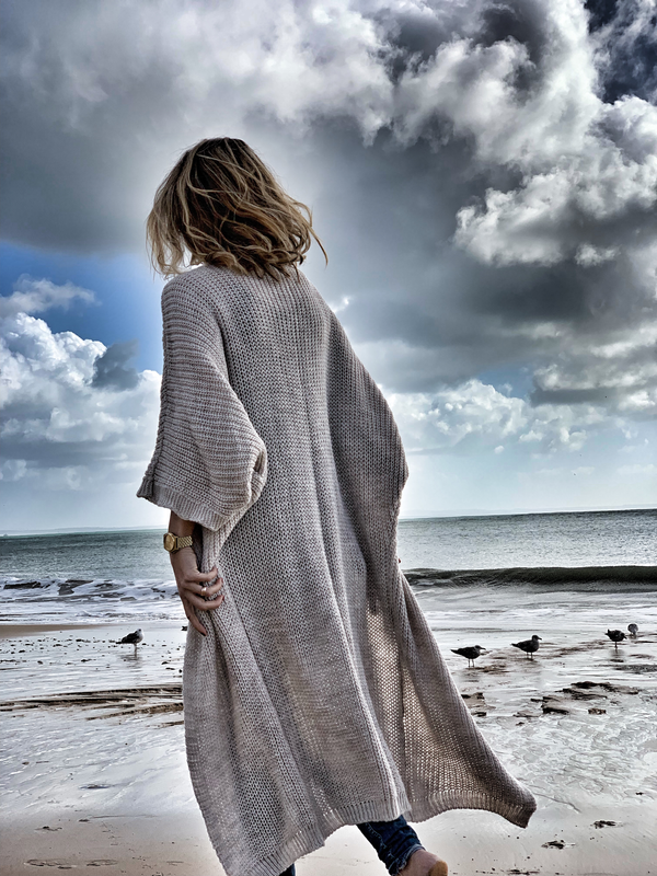Winter beach Long Cardigan