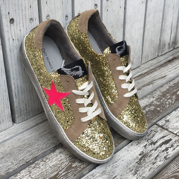 Distressed Gold Glitter Sneakers With Neon Star