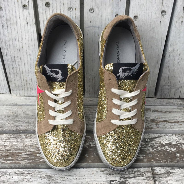 Distressed Gold Glitter Sneakers With Neon Star by No Store