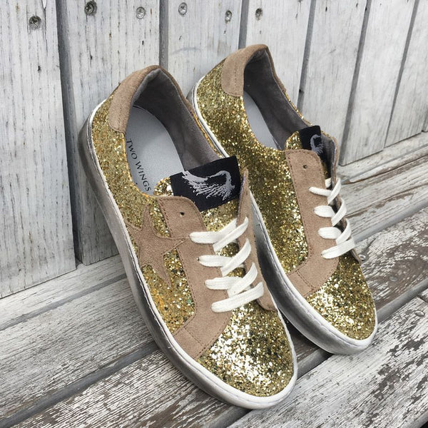 Distressed Gold Glitter Sneakers With Suede Star
