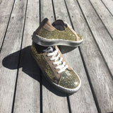 Distressed Gold Glitter Sneakers With Suede Star by No Store