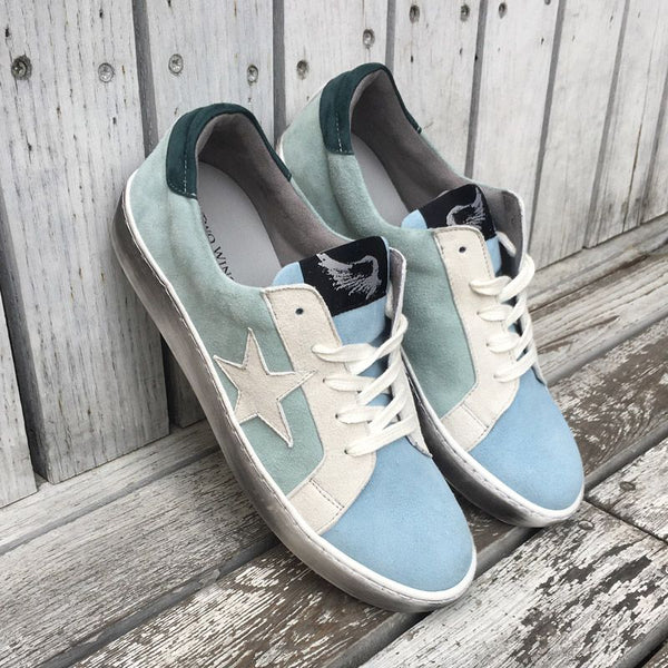 Distressed Green Water Sneakers With Suede Star