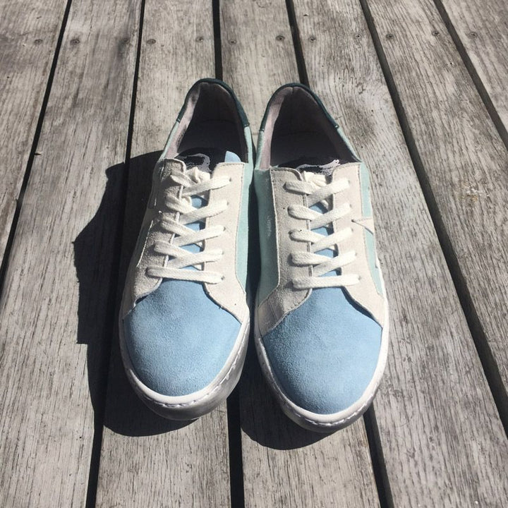 Distressed Green Water Sneakers With Suede Star by No Store