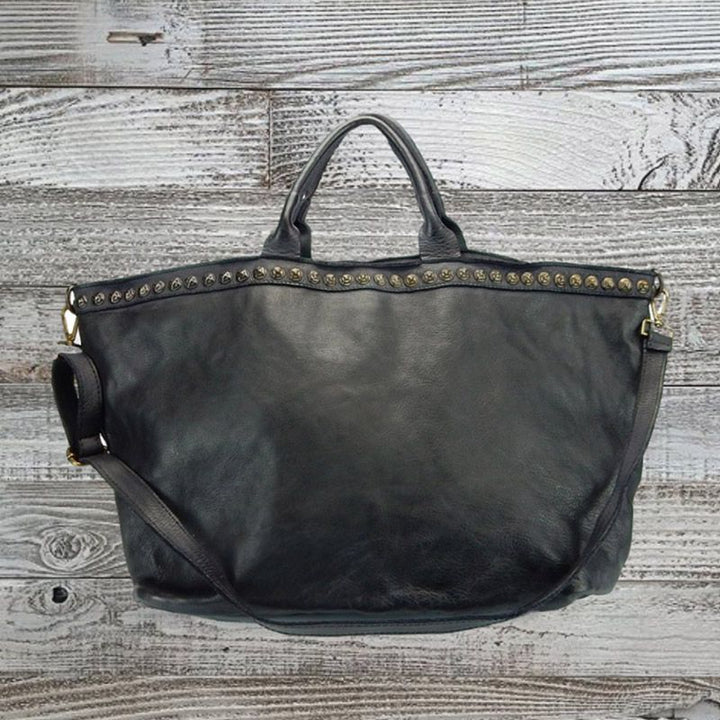 Distressed Leather Oversized Shopper Bag by No Store